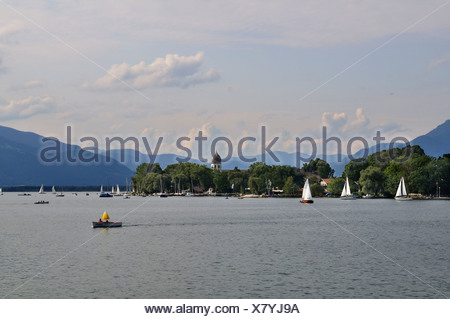 View from Gstadt to the Fraueninsel on Chiemsee, Chiemgau, Upper Bavaria, Bavaria, Germany, Europe - Stock Photo
