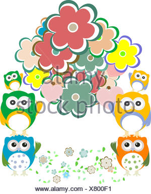 owls, birds, flowers, cloud and love heart - Stock Photo