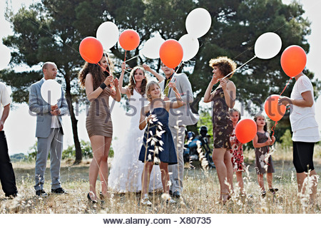 Wedding Guests With Balloons, Croatia, Dalmatia - Stock Photo