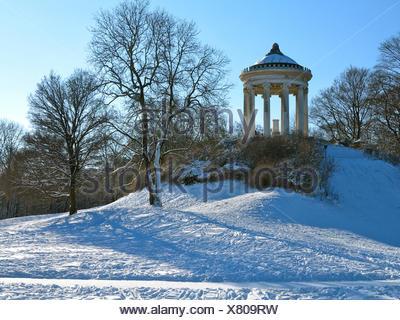 Deutschland, Oberbayern, München, Englischer Garten, Winter, - Stock Photo