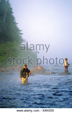 Salmon fishing on the Upper Humber River, Newfoundland, Canada - Stock Photo