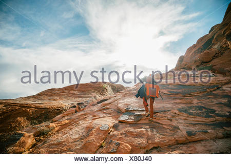 Climbers hiking to Panty Wall in Red Rock Canyon, Nevada - Stock Photo