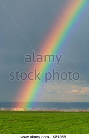 Simple landscape with rainbow - Stock Photo