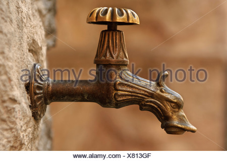 Nostalgic water-tap with a dragon's head - Stock Photo