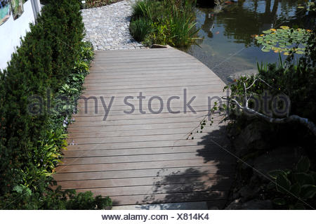 Wood-polymer-component terrace - Stock Photo