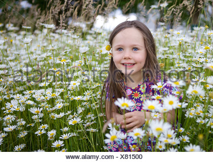 Little girl, three years, sitting in a flower meadow with many daisies, Rosenheim, Bavaria - Stock Photo