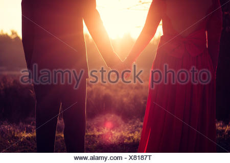 Couple standing in a meadow holding hands at sunset