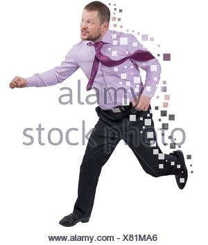 Running businessman in a hurry over white background isolated. - Stock Photo