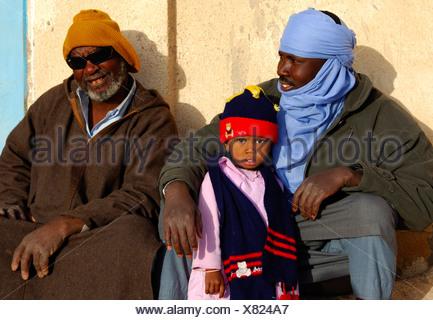 Three generations, grandchild, father, grandfather, Darj Libya - Stock Photo