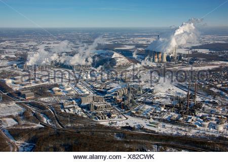 Aerial photo, VEBA power plant, Scholven refinery, VEBA-Oel AG, EON, Gelsenkirchen-Buer, Gelsenkirchen, Ruhr Area, North Rhine- - Stock Photo