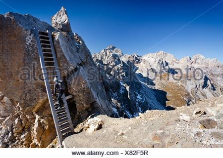 Hikeron Mt Costabella at the Bepi Zac via ferrata in the San Pellegrino valley, above the San Pellegrino pass - Stock Photo