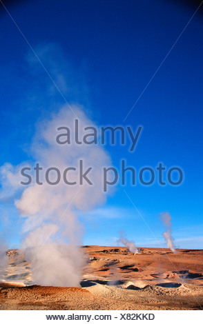 Portrait of Natural Geysers Steaming at Sunrise - Stock Photo