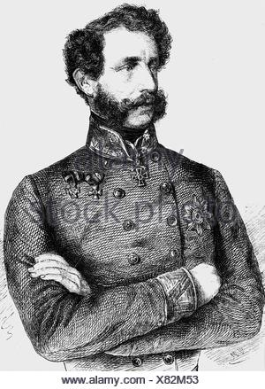 Clam-Gallas, Eduard count, 15.3.1805 - 17.3.1891, Austrian general, half length, wood engraving, 'Die Glocke', 1860, , Additional-Rights-Clearances-NA - Stock Photo