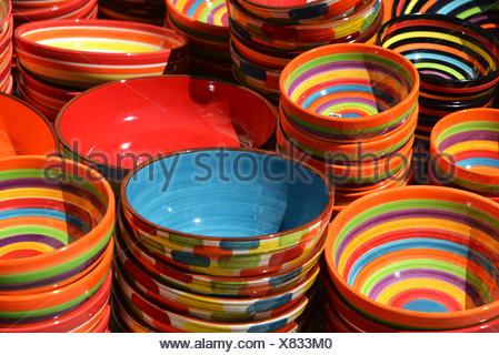 dyed ceramic bowls - Stock Photo