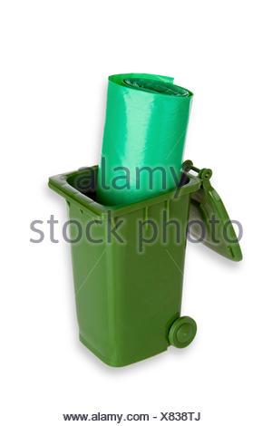 Mülltonne mit Müllbeutel freigestellt auf weissem Hintergrund - Stock Photo