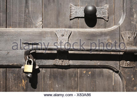 Front Door Fittings Latches Old Padlock Anew Close Up Italy