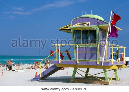 Life Guard, South Beach, Miami Beach, Miami, Florida, USA - Stock Photo