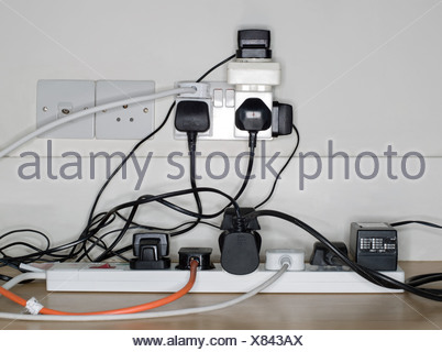 Plug sockets and cables - Stock Photo