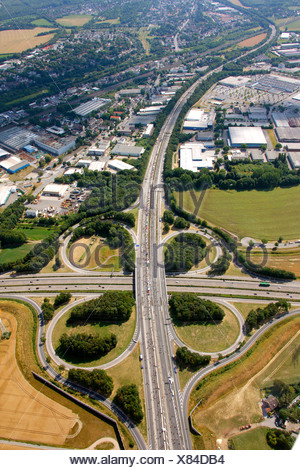 Aerial view, A40 and A45 highway junction, known as Sauerlandlinie, RUHR.2010 Action Still-life on the A 40, Dortmund, Ruhr Area - Stock Photo