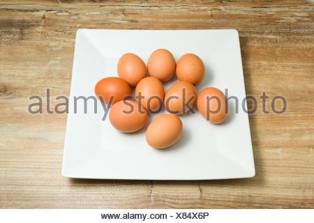 fresh, organic, chicken eggs on plates - Stock Photo