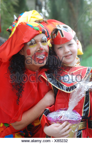 Israel Purim A young woman dressed up as a clown - Stock Photo