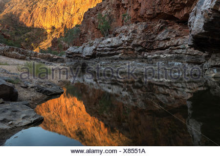 Reflections in waterhole, Ormiston Gorge, West MacDonnell Ranges Alice Springs, Northern Territory, Australia. - Stock Photo