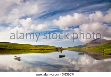 Loch Fada, in the back the Old Man of Storr mountain, Isle of Skye, Scotland, UK, Europe - Stock Photo