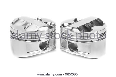 set of two polished forged pistons - Stock Photo