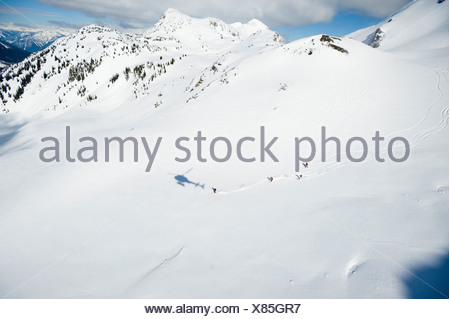 A group of skiers take a run down a large alpine bowl in the backcountry while the shadow of their helicopter is follows. - Stock Photo