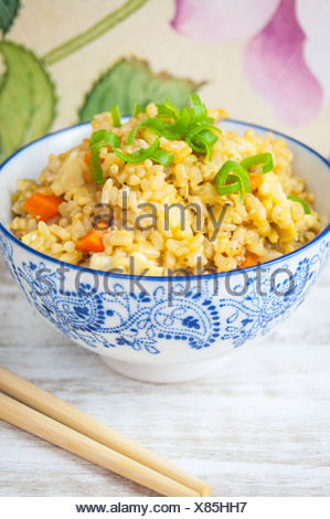 A Close Up View of Vegetable Fried Rice - Stock Photo