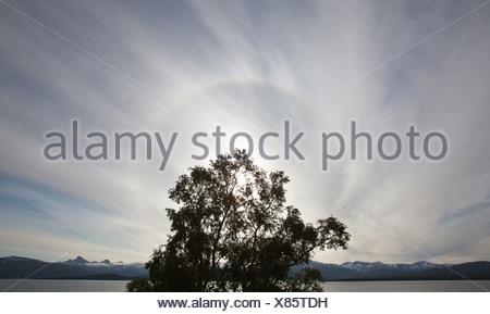 sun halo, Norway, Troms, Tromsoe - Stock Photo