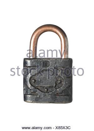 lock isolated rusty - Stock Photo