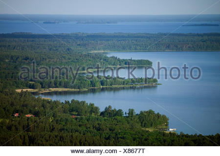 Aerial view of a islands in a lake, Sweden. - Stock Photo