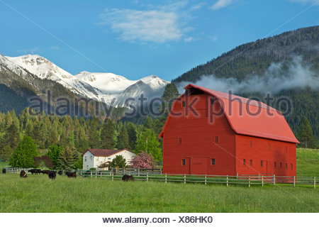 The agricultural and ranching area near Joseph, Oregon lies below the Wallowa Mountains in the spring. USA - Stock Photo
