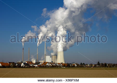 nuclear power plant and residential area