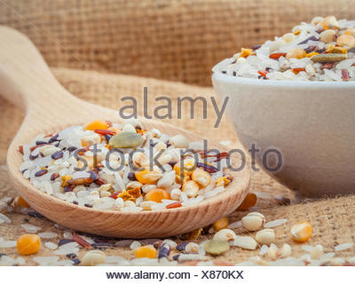 Mixed Whole grain Traditional Thai rice best rice for healthy an - Stock Photo
