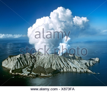 White Island, volcanic eruption, Bay of Plenty, North Island, New Zealand - Stock Photo