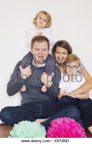 Family with two children, portrait - Stock Photo