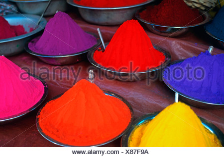Dyed henna powder, India, South Asia, Asia - Stock Photo