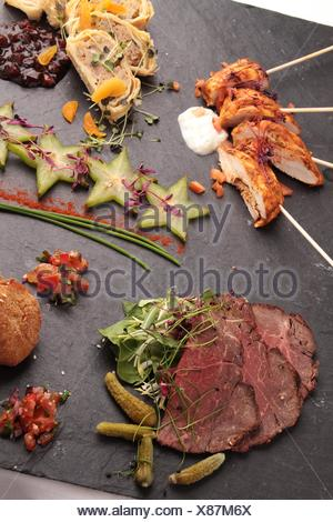 mixed canapes - Stock Photo