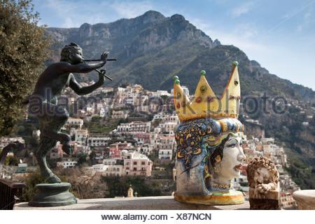 Amalfi, Amalfiküste, Aussicht, Blick, Campania, Golf von Neapel, Italien, Kampanien, Küste, Meer, Meta, Mittelmeer, Positano, So - Stock Photo