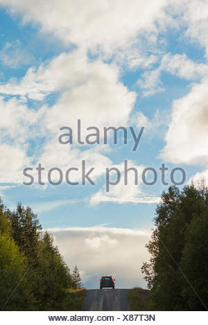 Sweden, Harjedalen, Storsjo, Car on road between pine trees - Stock Photo