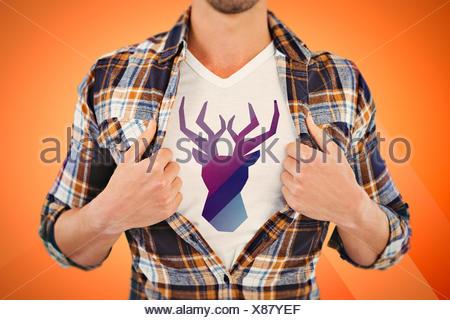 Composite image of black deer - Stock Photo