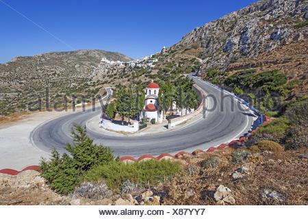 Greece, Karpathos, Menetes, cemetery with the Antonios chapel of Menetes, - Stock Photo