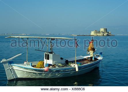 bay of Nafplio, Argolid region, Peloponnese, Greece, Southern Europe. - Stock Photo