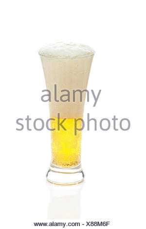 light beer with the foam in a tall glass isolated on white - Stock Photo