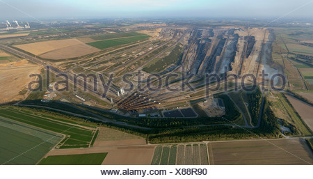 Aerial view, Titz, opencast mining of brown coal, Jackerath, North Rhine-Westphalia, Germany, Europe - Stock Photo