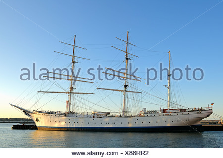 Tall ship Gorch Fock I in the morning light, old port of Stralsund, Mecklenburg-Western Pomerania, Germany, Europe, PublicGround - Stock Photo