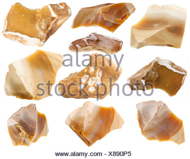 set of flint mineral stones isolated on white - Stock Photo