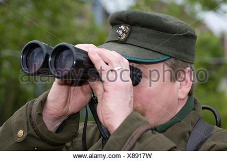 Hunter, Rifleman, hunt, go hunting, race, sight, envisage, binoculars, look, looks, deerstalking, stalk - Stock Photo